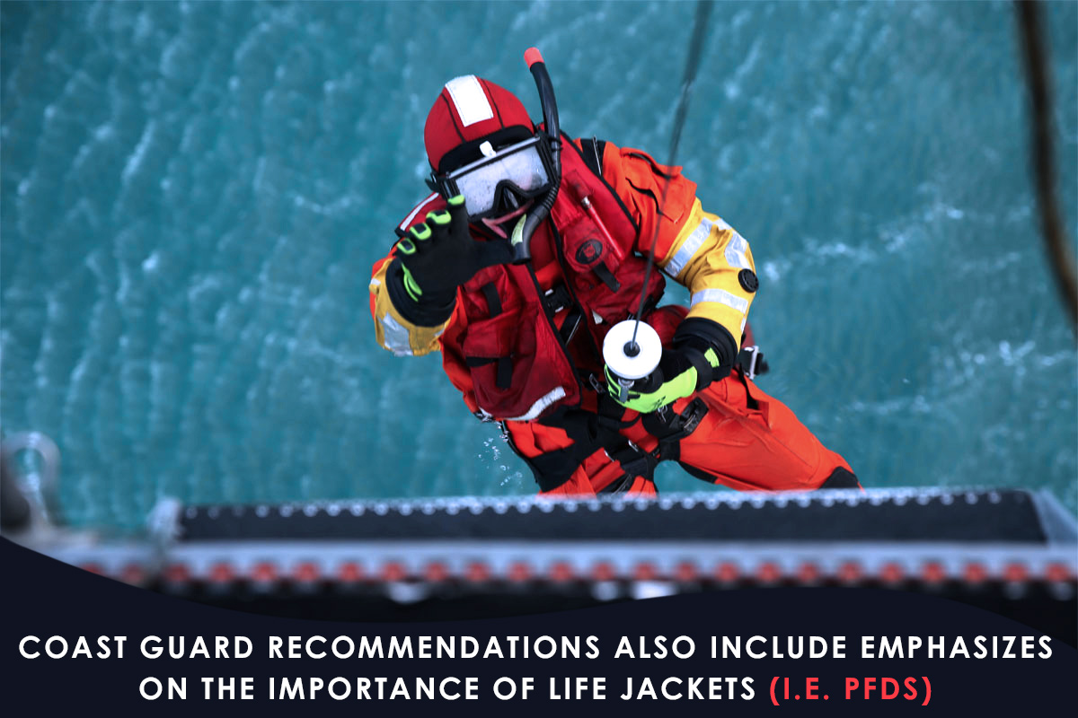 Coast Guard recommendations also include emphasizes on the importance of Life Jackets (i.e. PFDs)